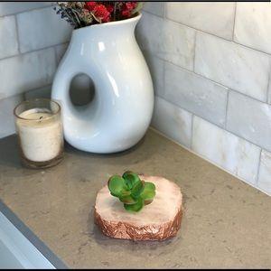 Rose Quartz Bronze Cooper Succulent Candle Holder